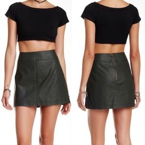 SALE! Free People vegan leather green mini skirt